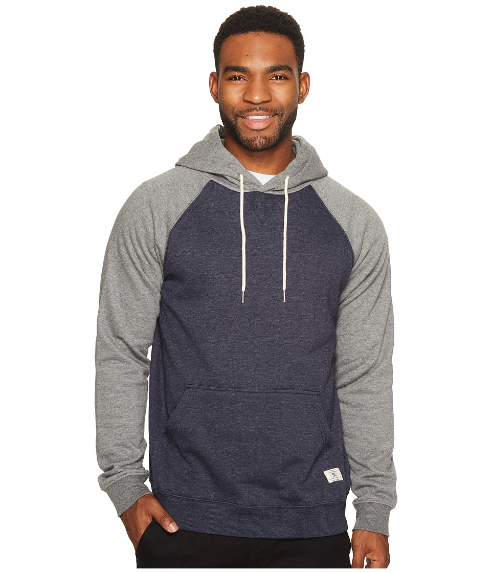 DC - Rebel Raglan Pullover Hoodie (Dark Indigo) Men's Clothing