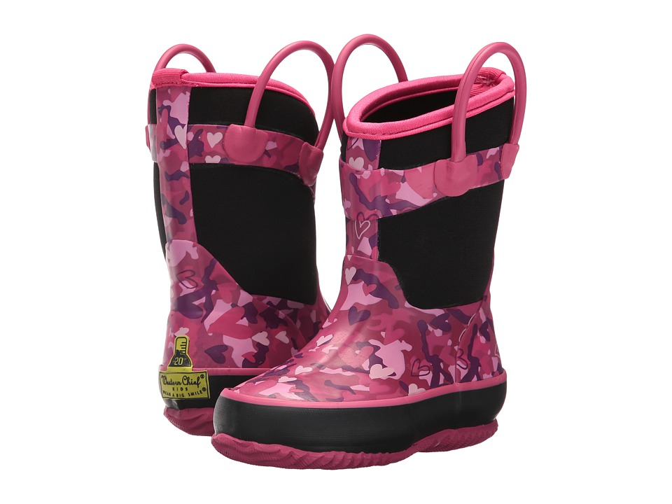 Western Chief Kids - Heart Camo Neoprene Boot (Toddler/Little Kid) (Black) Girls Shoes