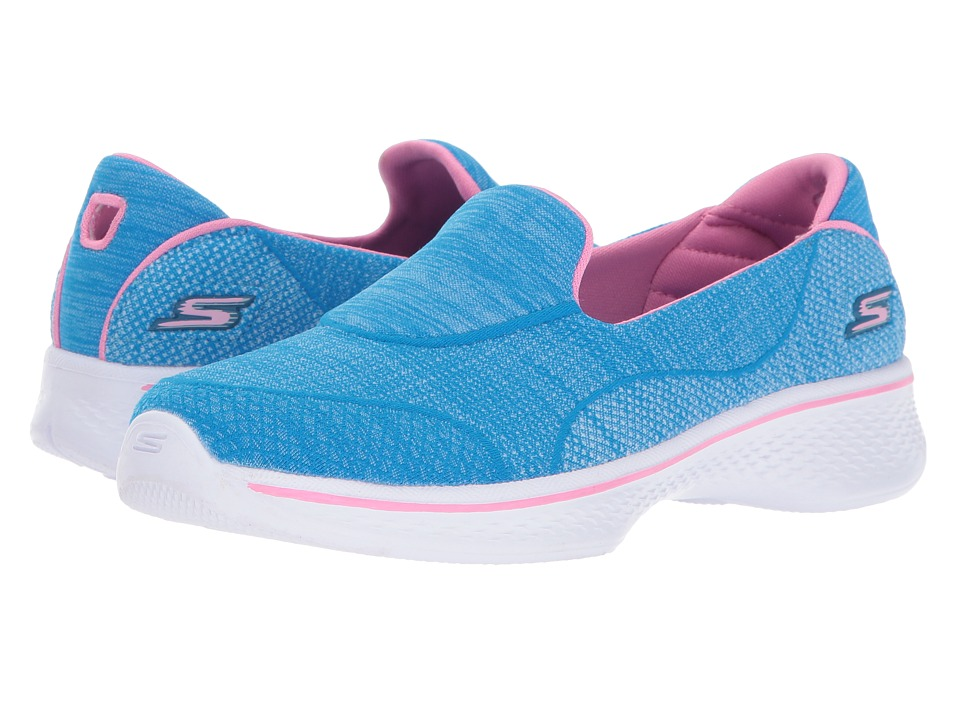 SKECHERS KIDS - Go Walk 4 Speedy Sports 81136L (Little Kid/Big Kid) (Blue/Pink) Girl's Shoes