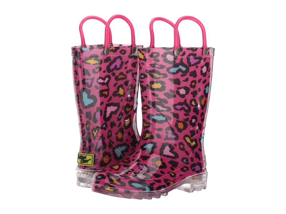 Western Chief Kids - Cutie Leopard Lighted PVC Boot (Toddler/Little Kid) (Pink) Girls Shoes