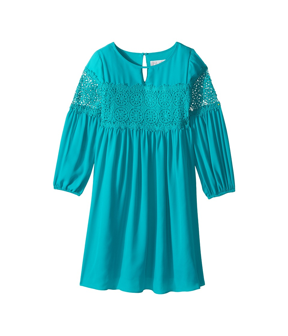 Us Angels - 3/4 Sleeve w/ Lace Inset A-Line Dress (Big Kids) (Emerald) Girl's Dress