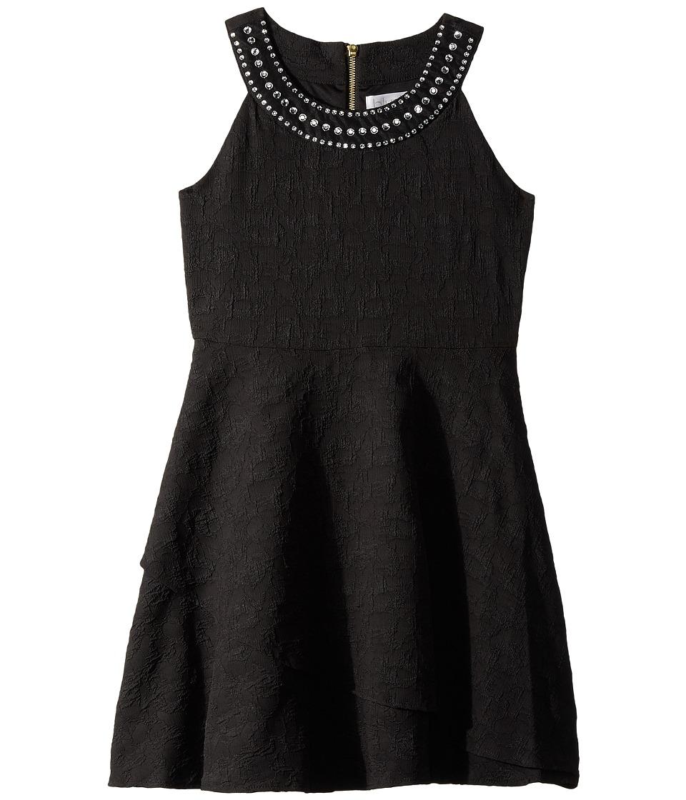 Us Angels Sleeveless Ringer Dress w/ Jewels on Neckline (Big Kids) (Black) Girl