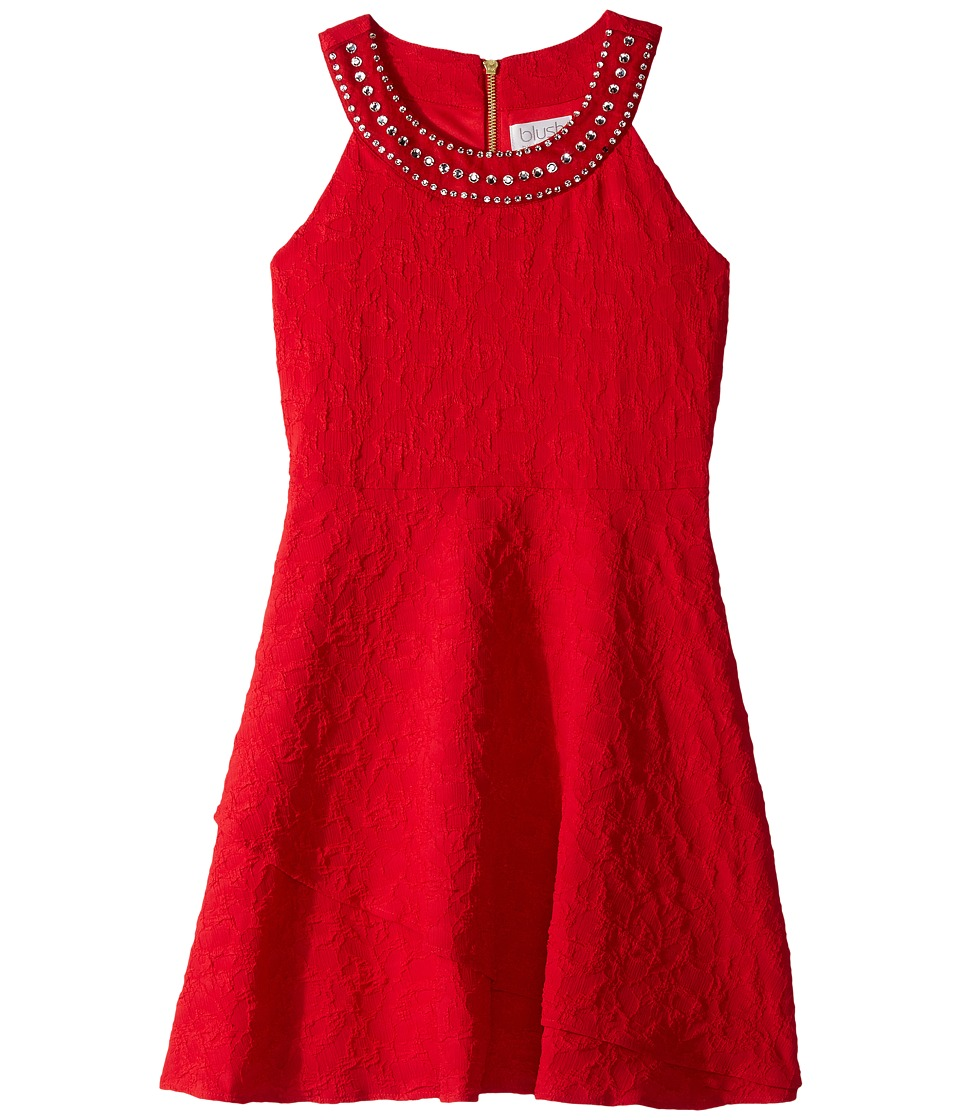 Us Angels Sleeveless Ringer Dress w/ Jewels on Neckline (Big Kids) (Ruby) Girl