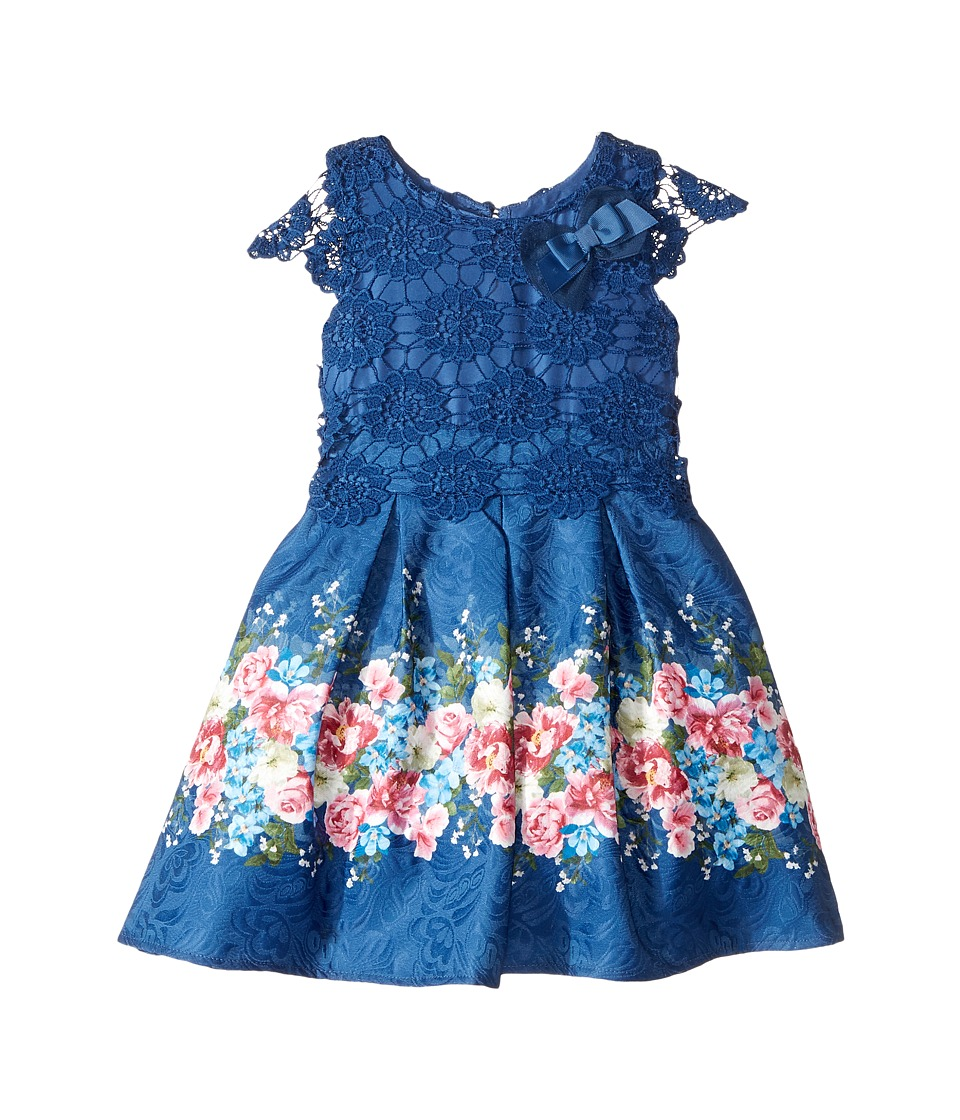 Us Angels - Cap Sleeve Lace Popover Dress (Toddler/Little Kids) (Navy) Girl's Dress