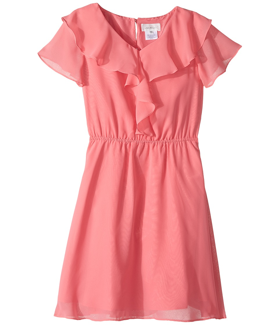 Us Angels - Flutter Sleeve Ruffle Front Dress (Big Kids) (Sherbert) Girl's Dress