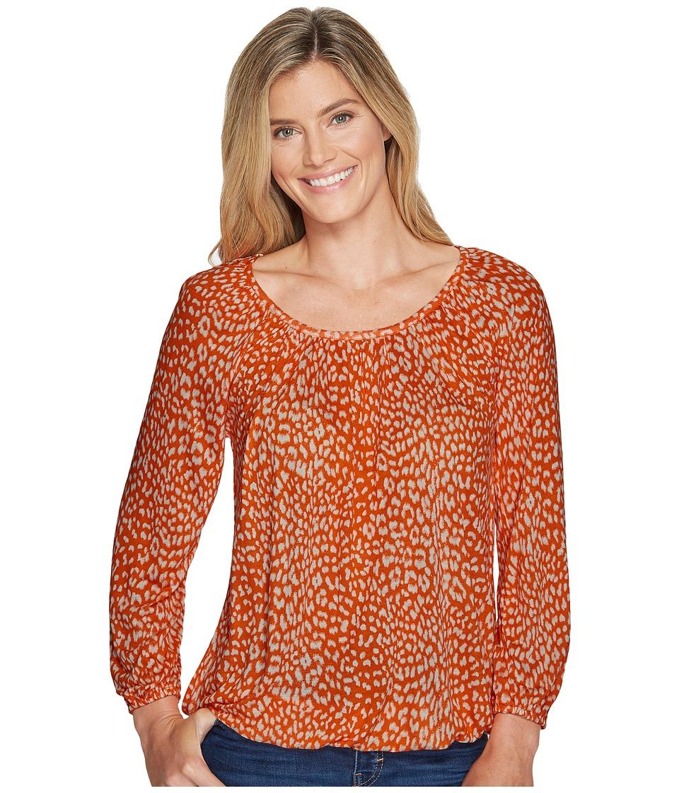 MICHAEL Michael Kors - Cheetah Peasant Top (Poppy/Bone) Women's Clothing