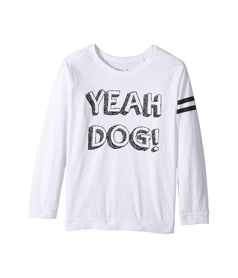Chaser Kids - Cotton Long Sleeve Raglan T-Shirt (Little Kids/Big Kids) (Yeah Dog/White) Boy's T Shirt