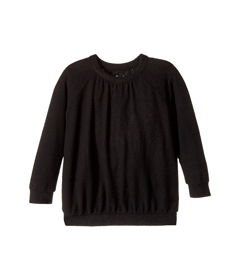 Chaser Kids - Love Knit Long Sleeve Shirred Raglan Pullover (Toddler/Little Kids) (True Black) Girl's Clothing