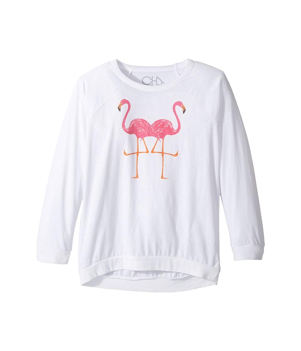 Chaser Kids - Vintage Jersey Long Sleeve Raglan T-Shirt (Little Kids/Big Kids) (Flamingo Lovers/White/Princess Pink) Girl's Clothing