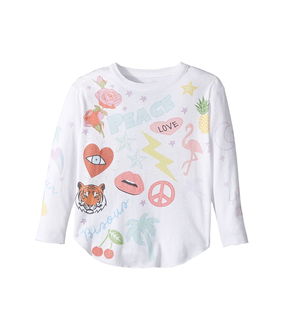 Chaser Kids - Vintage Jersey Long Sleeve Shirttail (Toddler/Little Kids) (Peace Patches/White) Girl's Clothing