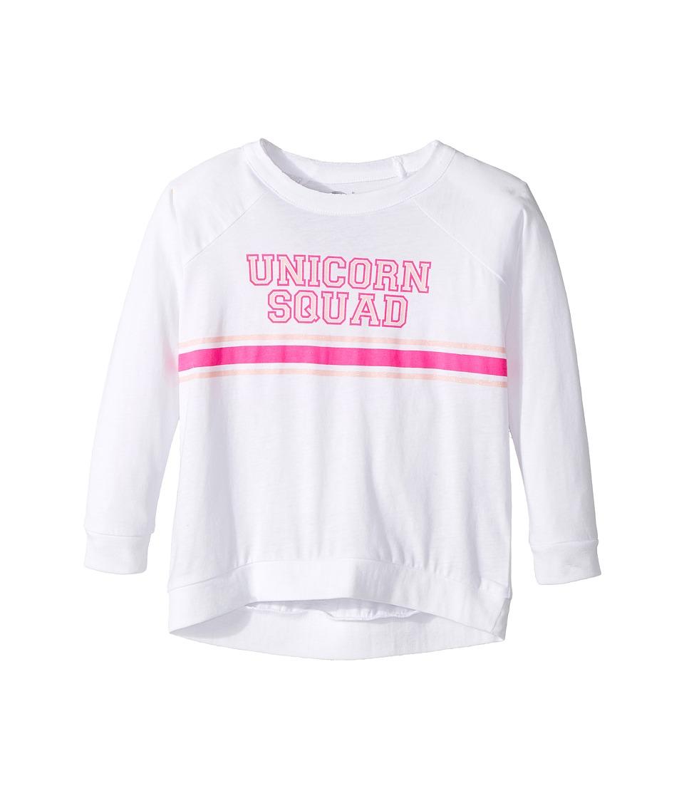 Chaser Kids - Vintage Jersey Long Sleeve Raglan T-Shirt (Toddler/Little Kids) (Unicorn Squad/White) Girl's Clothing