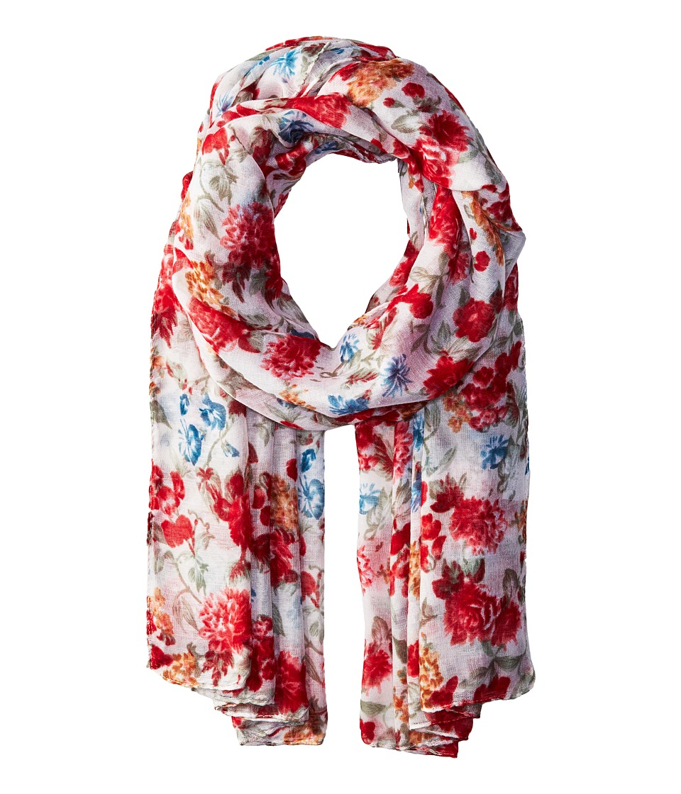 Bindya - Striped and Floral Scarf (White) Scarves