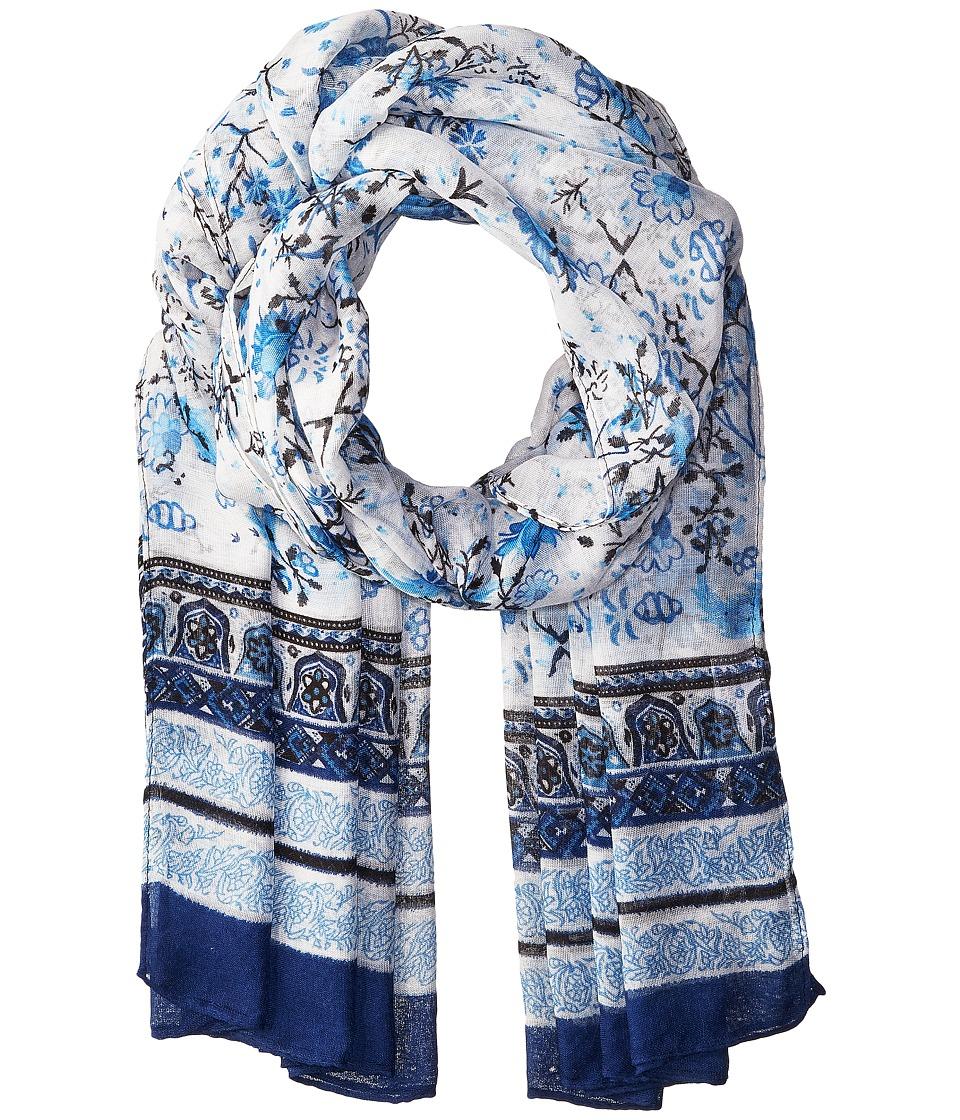 Bindya - Floral Scarf with Border (Blue) Scarves