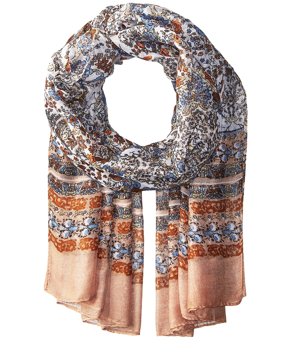 Bindya - Striped and Floral Scarf (Tan) Scarves