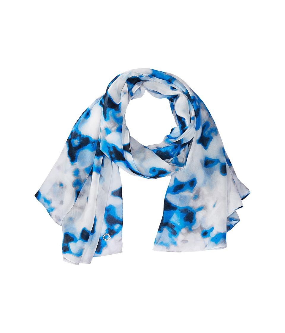 Calvin Klein - Blurred Floral Chiffon Scarf (Sliver) Scarves