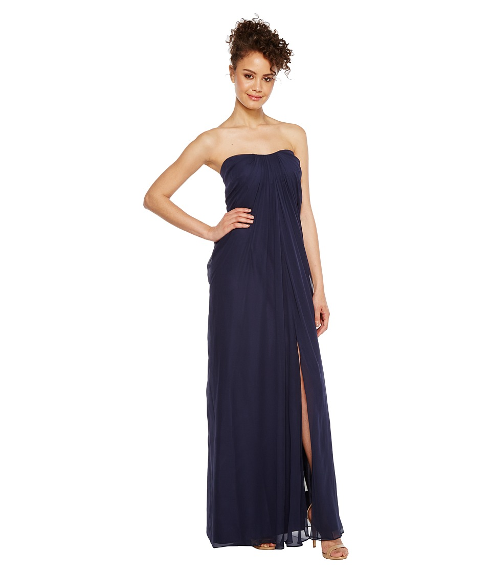 Aidan Mattox Strapless Shirred Chiffon Gown Twilight Dress