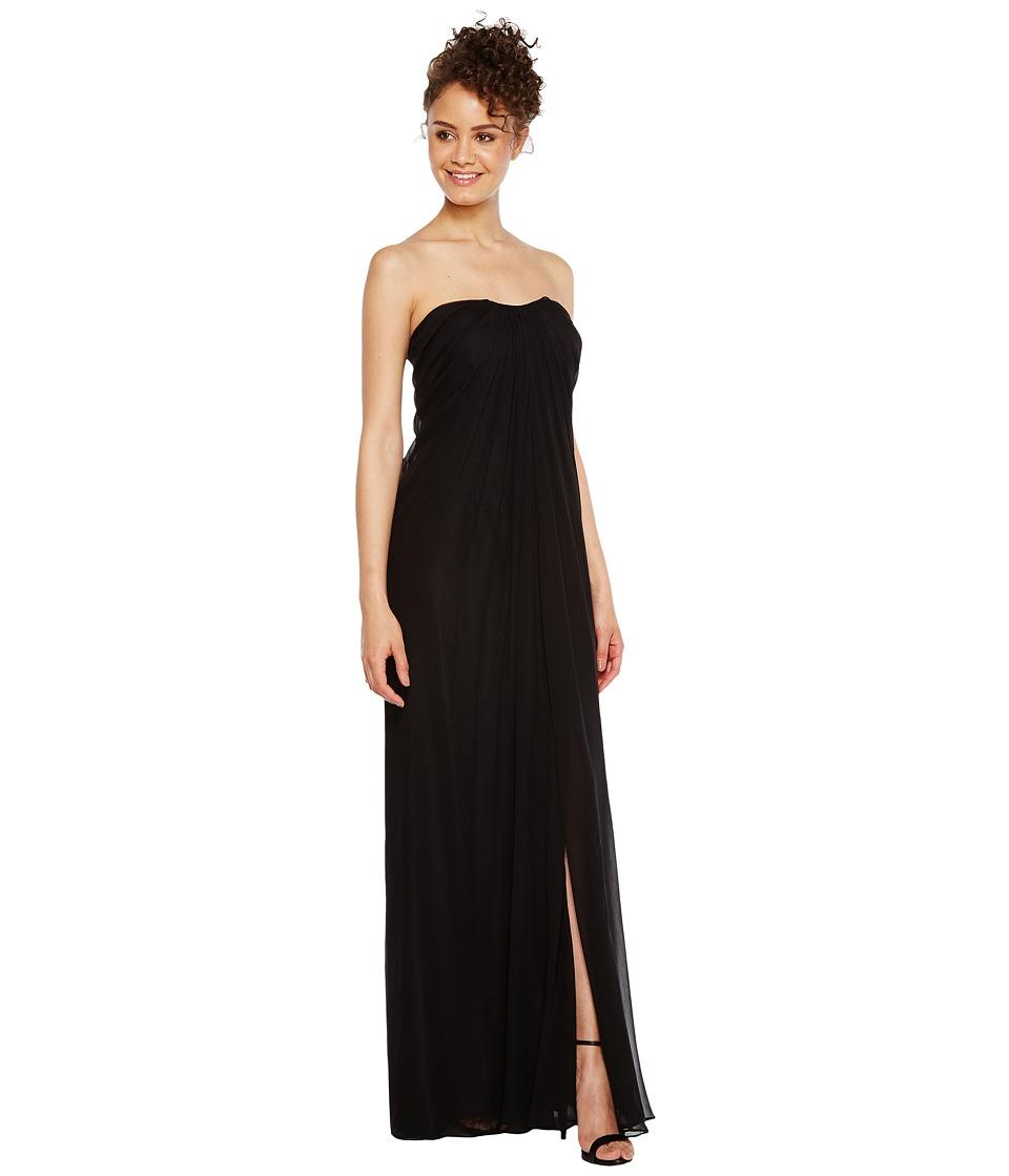 Aidan Mattox - Strapless Shirred Chiffon Gown (Black) Women's Dress