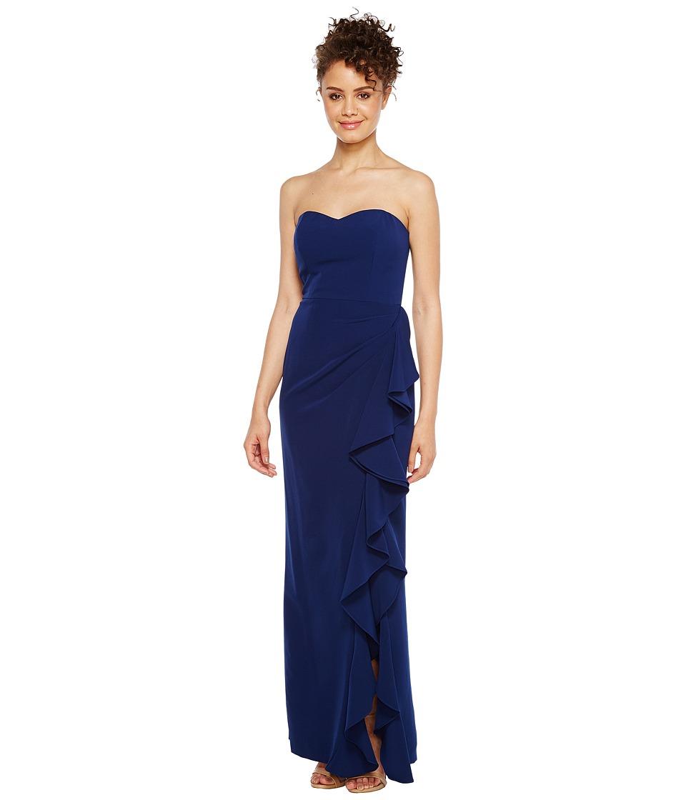 Aidan Mattox - Strapless Flounce Crepe Gown (Navy) Women's Dress