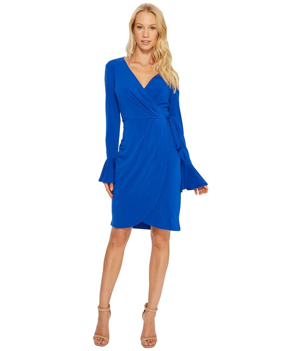 London Times - Solid MJ Bell Sleeve Wrap Dress (Azure Blue) Women's Dress