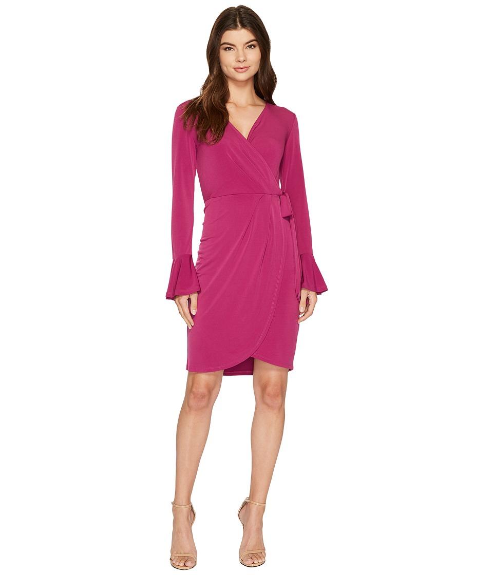 London Times - Solid MJ Bell Sleeve Wrap Dress (Fig) Women's Dress