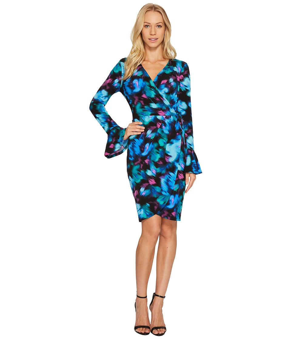 London Times Rainbow Haze Bell Sleeve Wrap Dress (Blue/Multi) Women