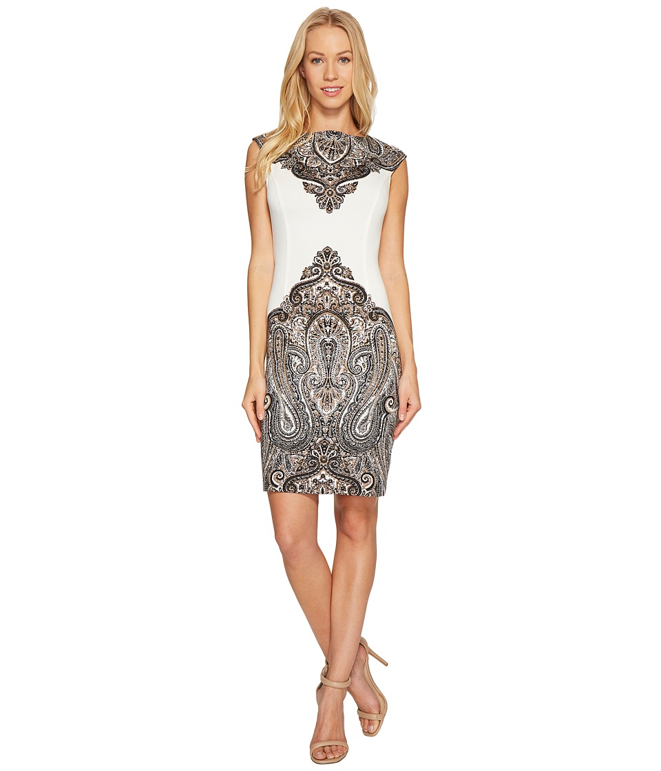 London Times - Regal Paisley Cap Sleeve Sheath Dress (White/Black) Women's Dress
