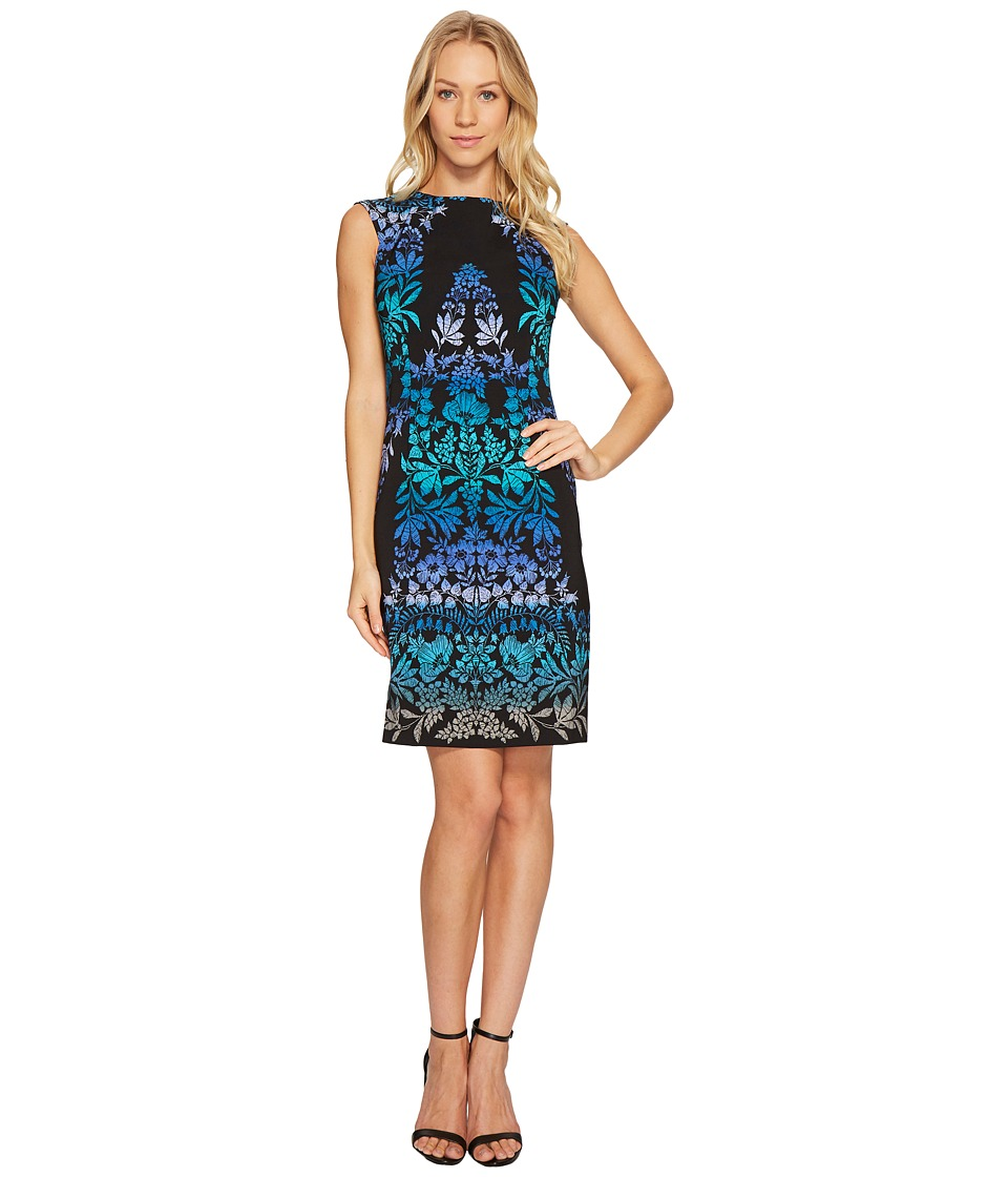London Times Majestic Placed Leaf Cap Sleeve S Dress (Black/Teal) Women