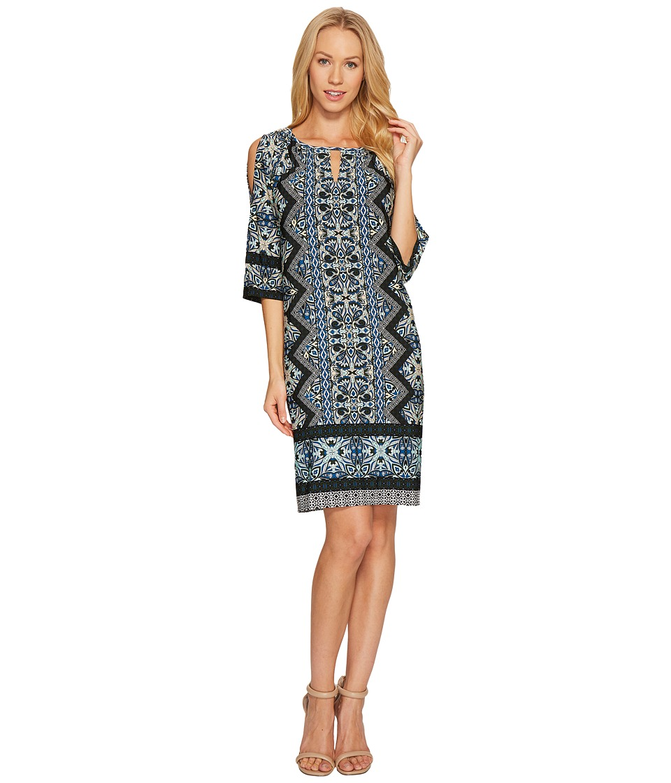 London Times Ornate Diamond Scroll Raglan K Dress (Teal) Women