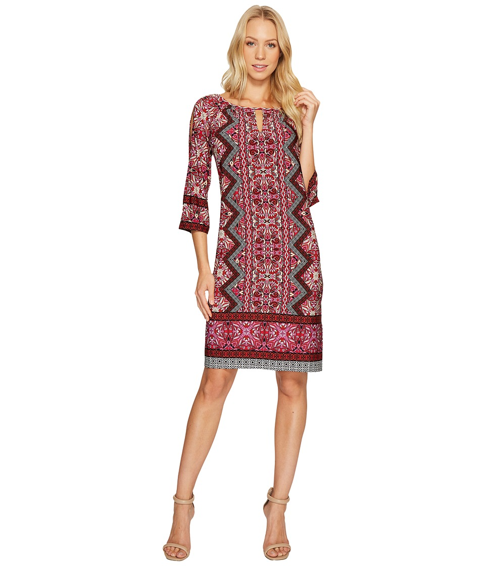 London Times Ornate Diamond Scroll Raglan K Dress (Red) Women
