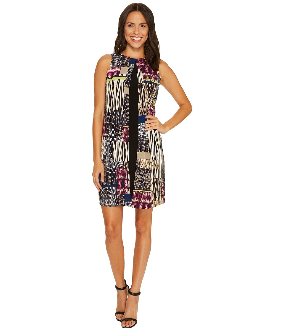 London Times Jungle Patch Fly Away Shift Dress (Purple/Multi) Women