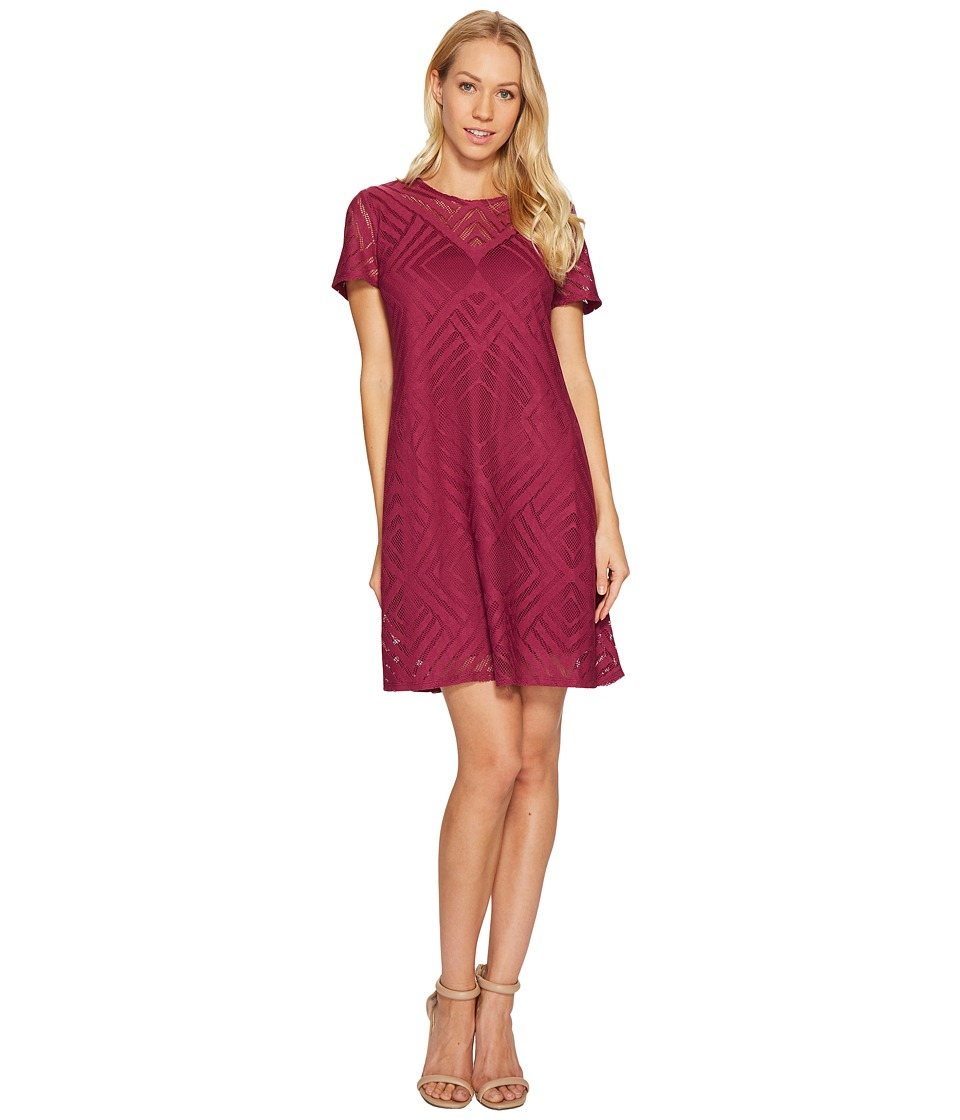 London Times - Crew Neck Short Sleeve Swing Dress (Fig) Women's Dress