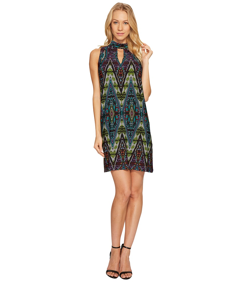 London Times Litebright Tile Mock Neck Shift Dress (Teal/Multi) Women