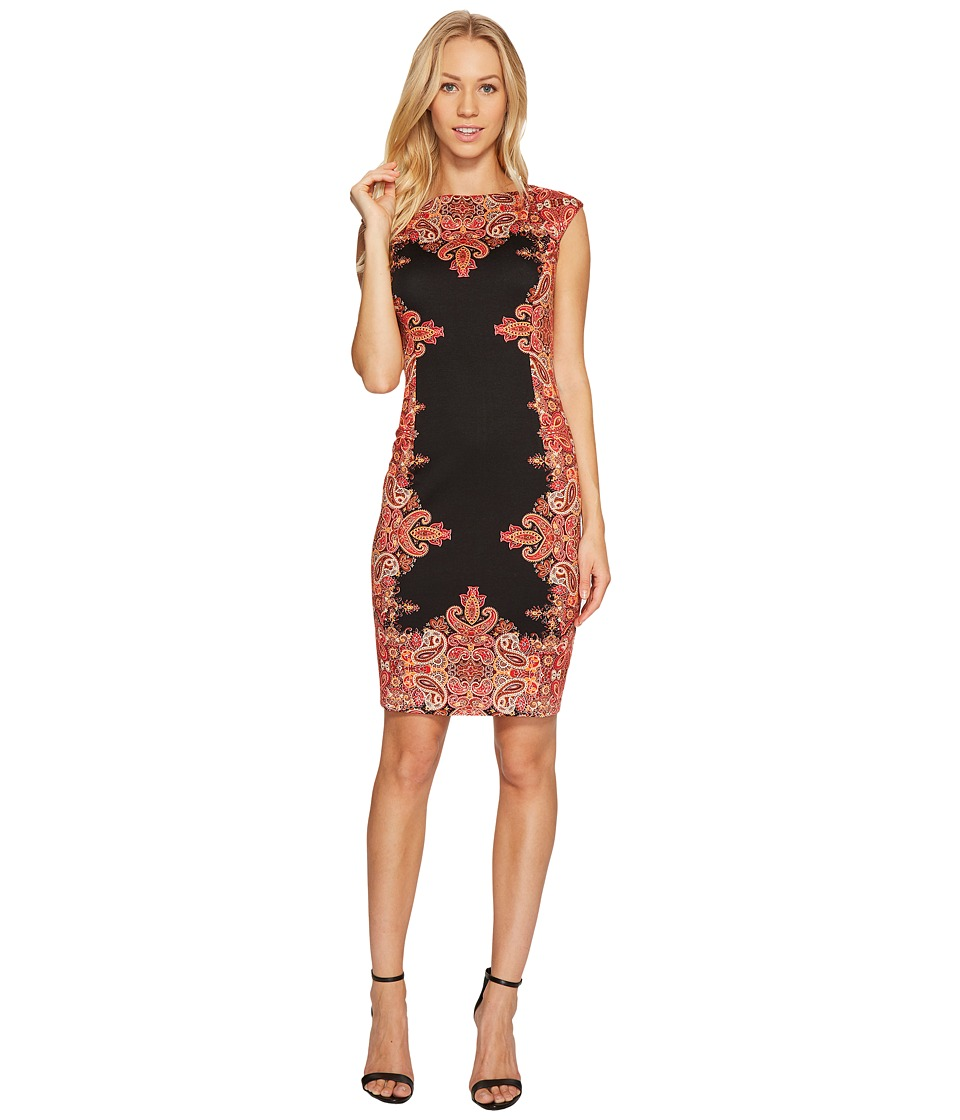 London Times - Start Flower Medallion Sheath Dress (Black/Rust) Women's Dress