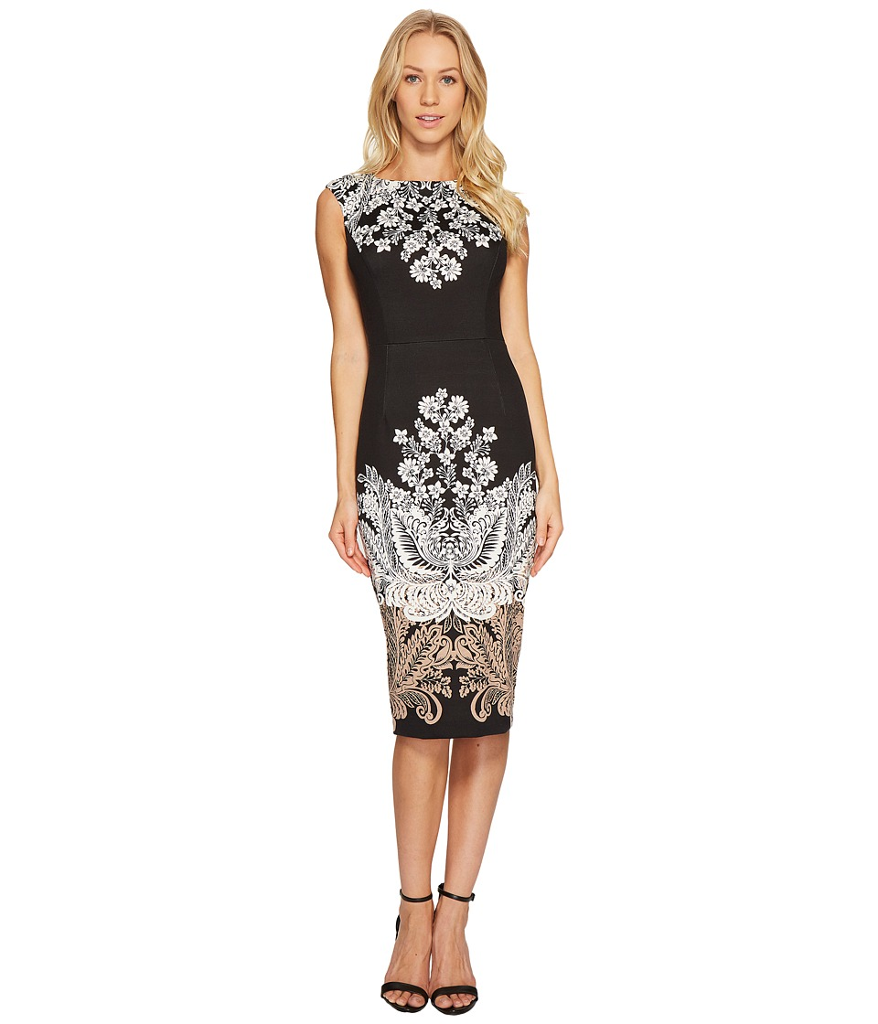 London Times Lacey Scroll Cap Sleeve Sheath Dress (Black/Taupe) Women