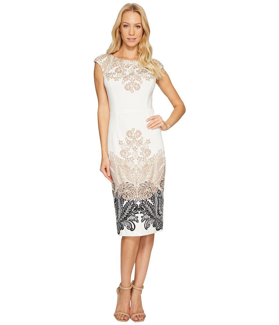 London Times - Lacey Scroll Cap Sleeve Sheath Dress (Ivory/Black) Women's Dress