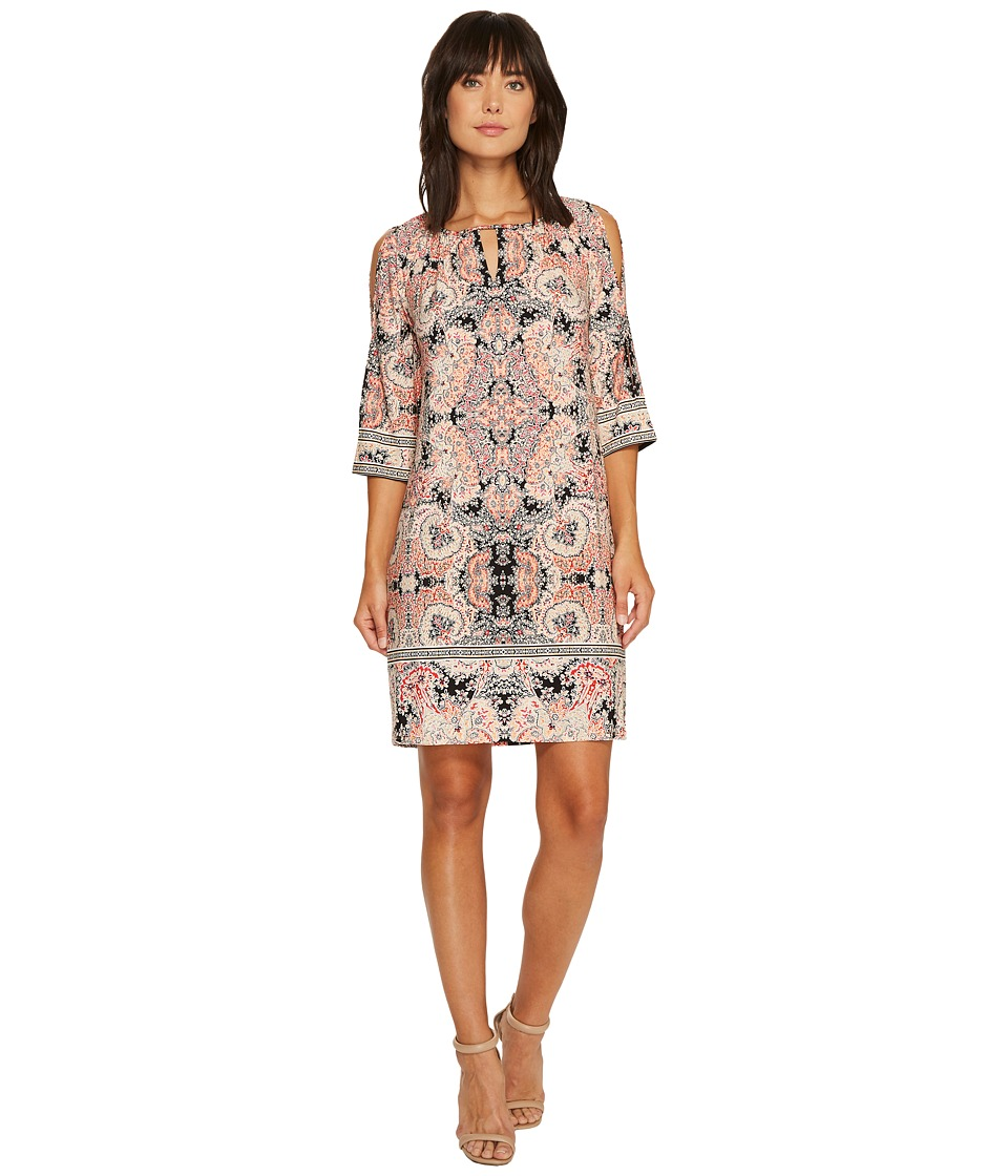 London Times Rocken Morrraccan Raglan Shift Dress (Peach) Women