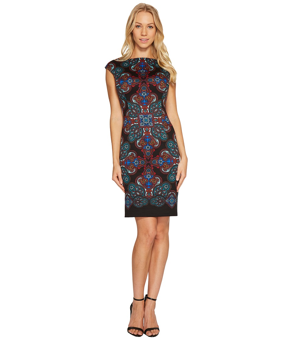 London Times Crested Bijoux Cap Sleeve Sheath Dress (Black/Blue) Women