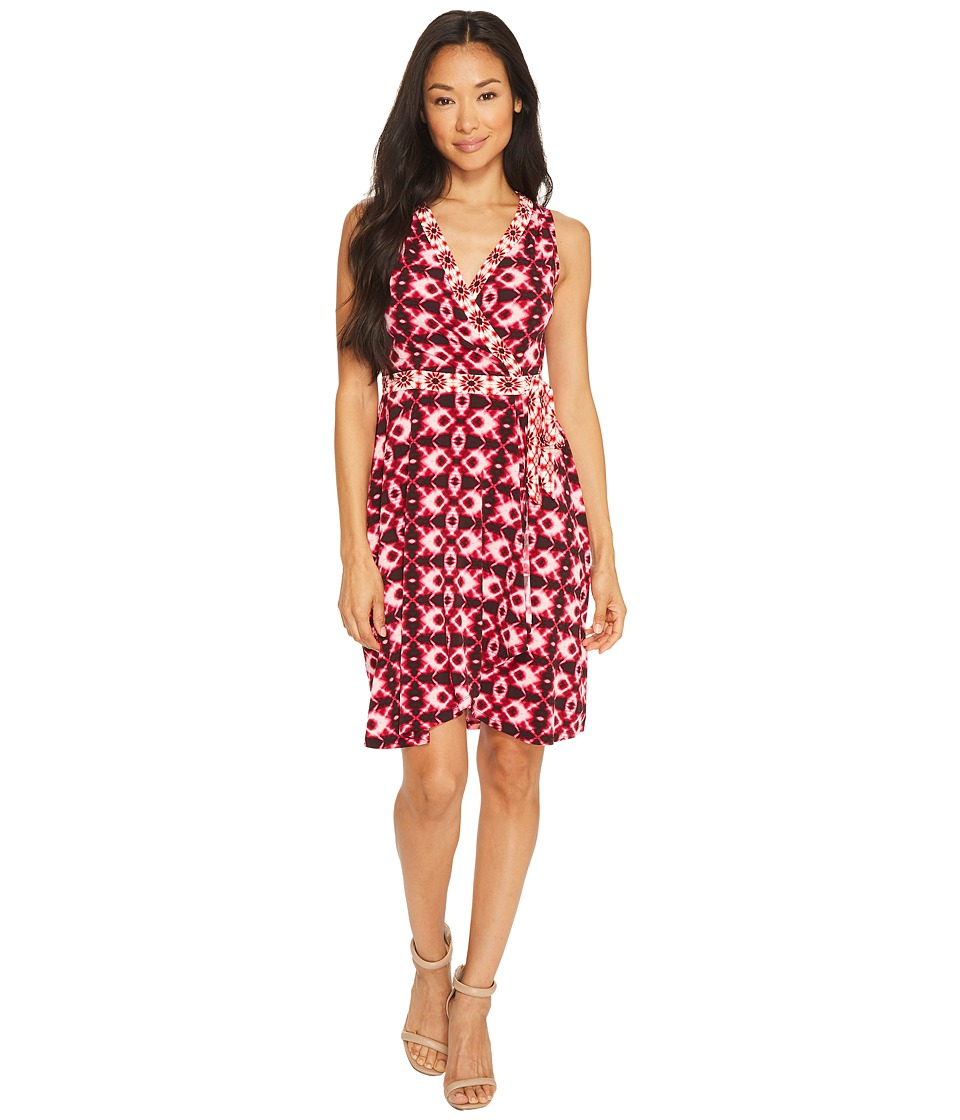 London Times Petite Batik Ikat Wrap Jersey Flare Dress (Fuchsia) Women