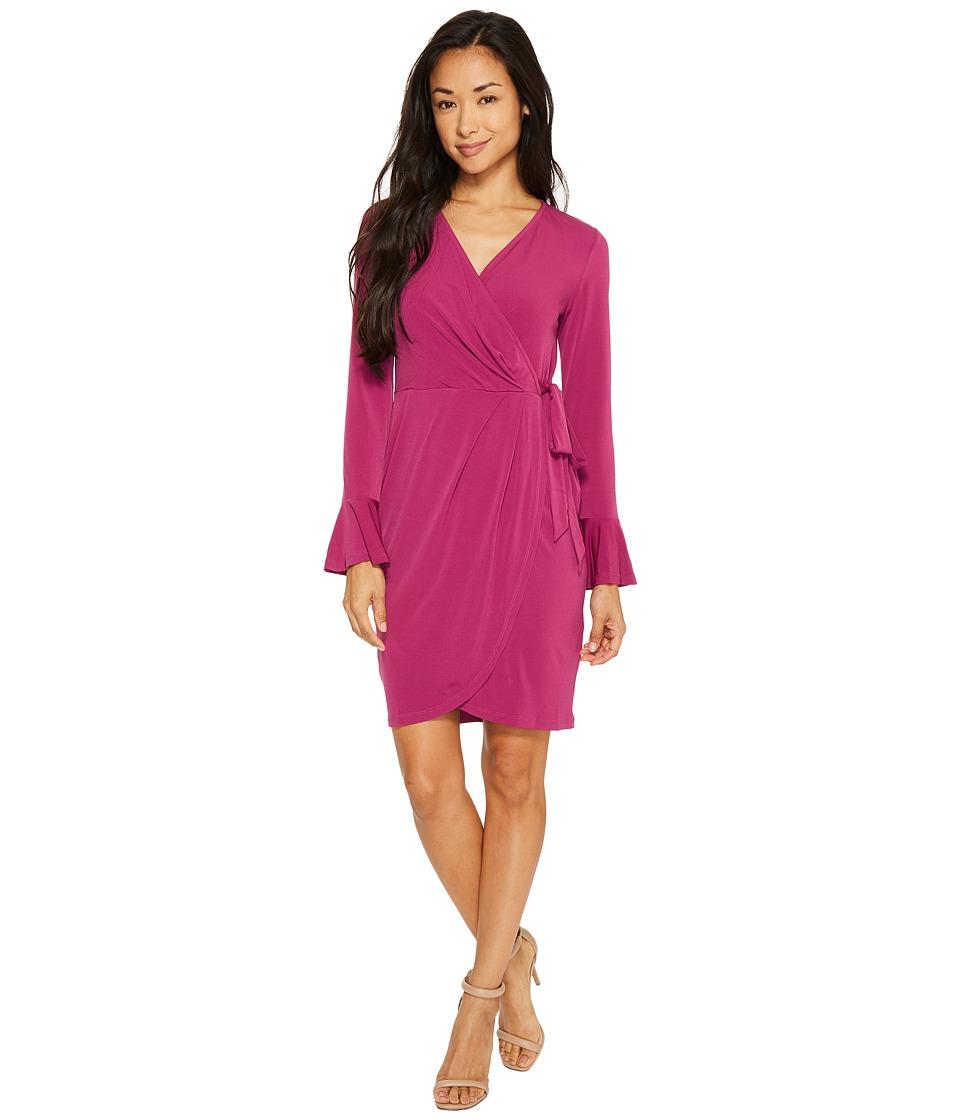 London Times - Petite Solid MJ Bell Sleeve Wrap Dress (Fig) Women's Dress