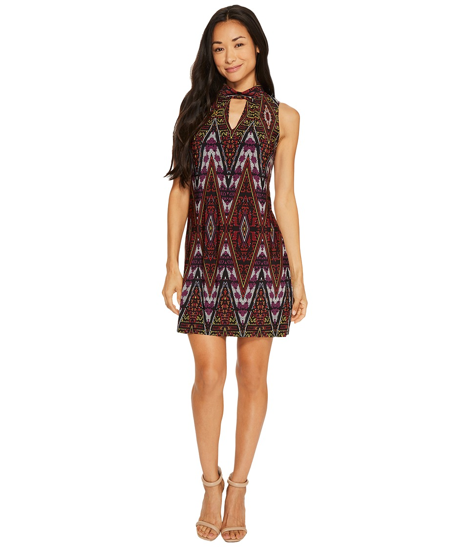 London Times Petite Litebright Tile Mock Neck Shift Dress (Red/Multi) Women
