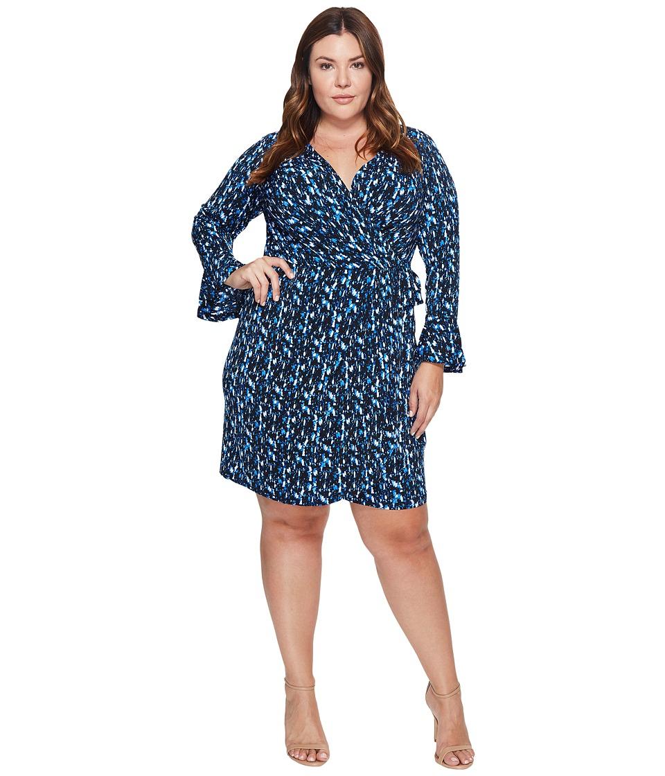 London Times - Plus Size Abstract Fleece Bell Sleeve Wrap Dress (Blue) Women's Dress