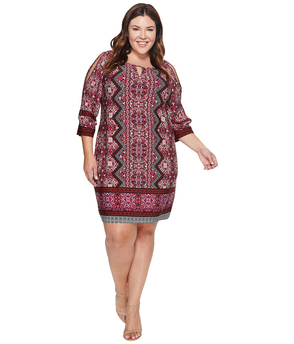 London Times - Plus Size Ornate Diamond Scroll Raglan K Dress (Red) Women's Dress