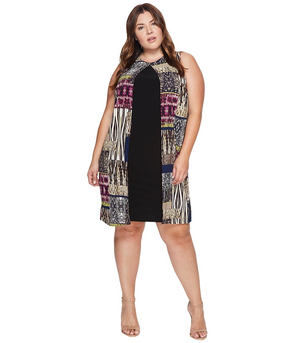 London Times - Plus Size Jungle Patch Fly Away Shift Dress (Purple/Multi) Women's Dress