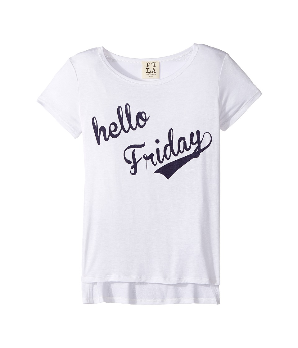 People's Project LA Kids - Hello Friday Square Tee (Big Kids) (White 1) Girl's T Shirt