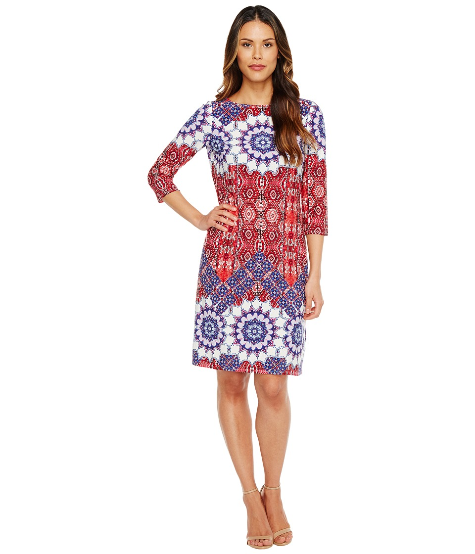 London Times - Imperial Tile 3/4 Sleeve Shift Dress (Coral Multi) Women's Dress
