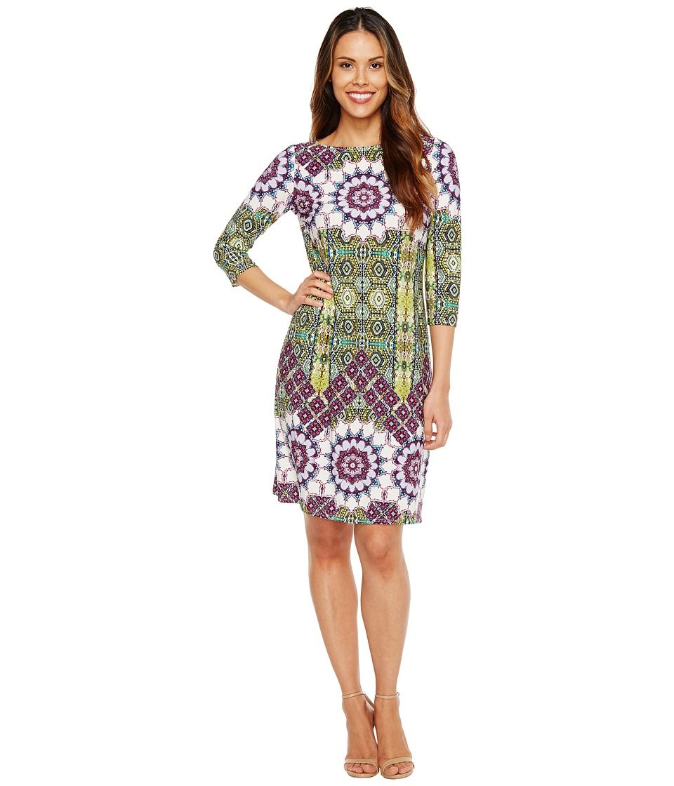 London Times Imperial Tile 3/4 Sleeve Shift Dress (Green Multi) Women