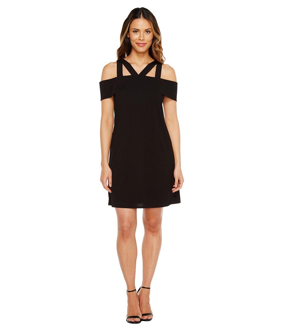 London Times Cold-Shoulder Shift Dress w/ Cross S (Black) Women