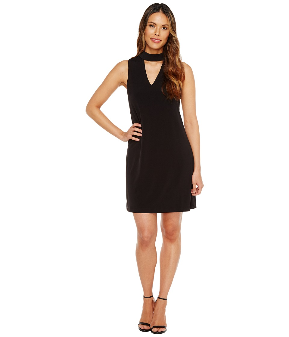 London Times - Sleeveless V-Neck Shift Dress w/ Mock Collar (Black) Women's Dress