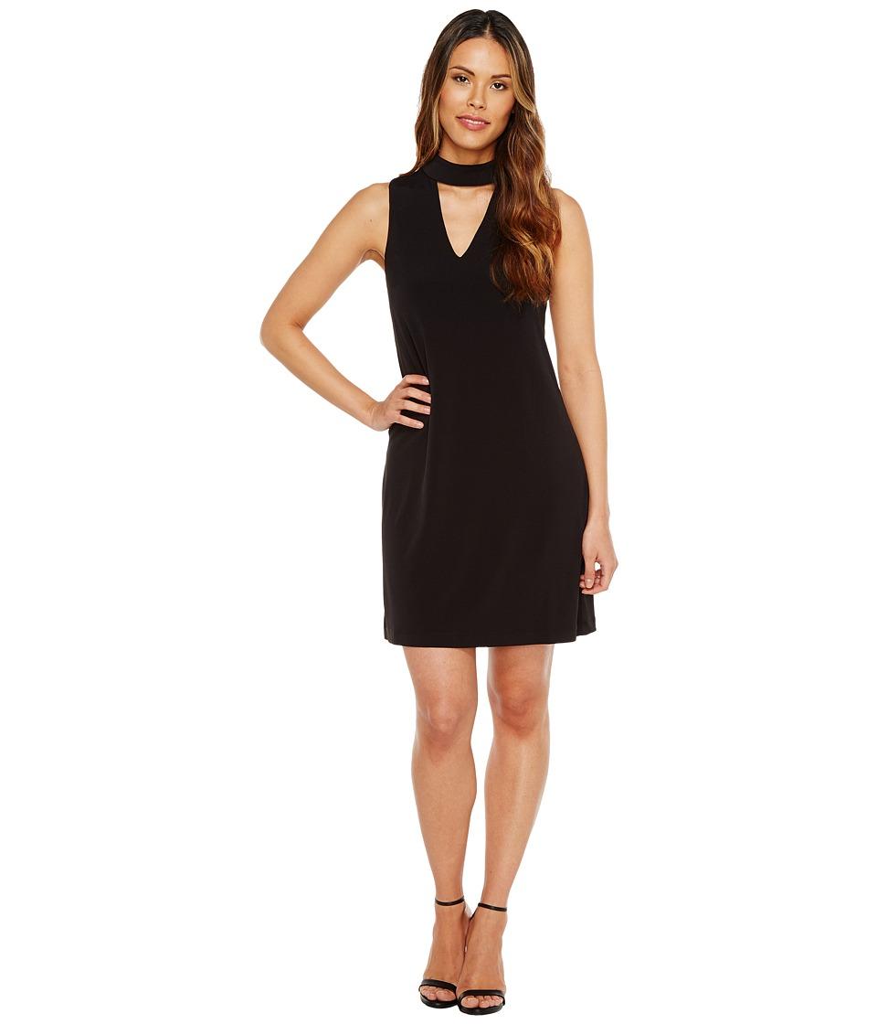 London Times - Sleeveless V-Neck Shift Dress w/ Mock Collar (Black) Women's Dress