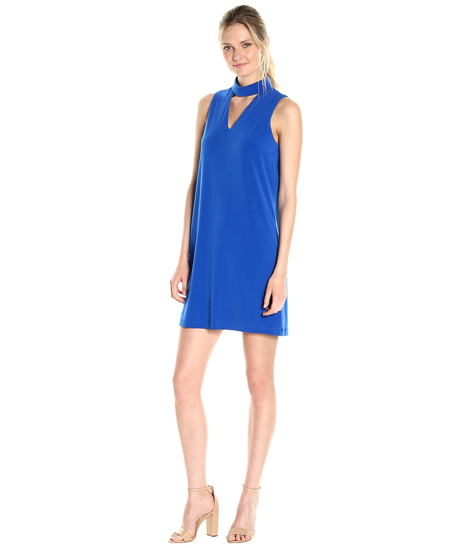 London Times - Sleeveless V-Neck Shift Dress w/ Mock Collar (Azure Blue) Women's Dress